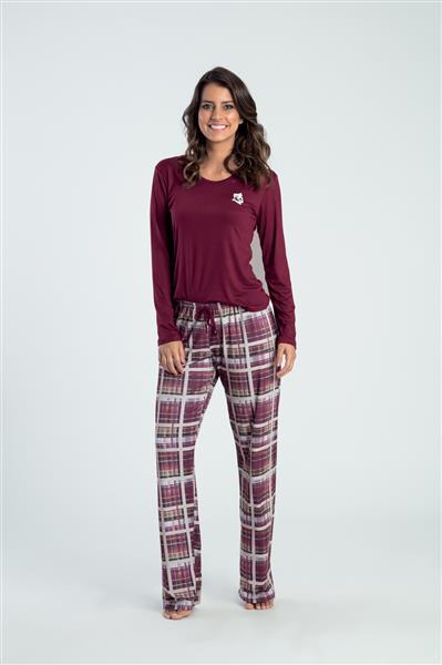 Pijama comprido de viscose e touch