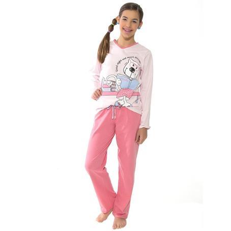 Pijama juvenil comprido de malha 100% algodão