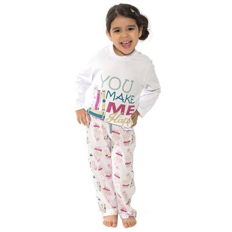 Pijama infantil comprido de malha 100% algodão