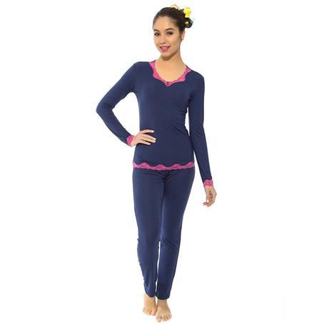 Pijama comprido de modal com renda