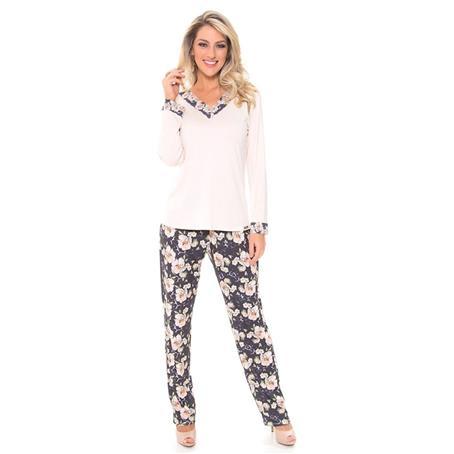 Pijama manga longa de viscose e viscoprint