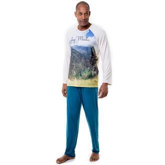 Pijama longo de viscose stretch