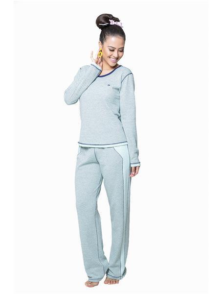 Pijama comprido dupla face suedi