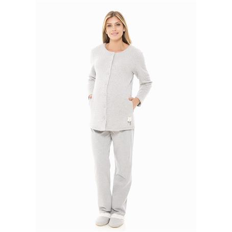 Pijama longo de matelasse e moletinho
