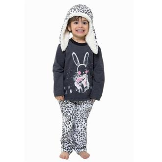 Pijama infantil comprido com touca