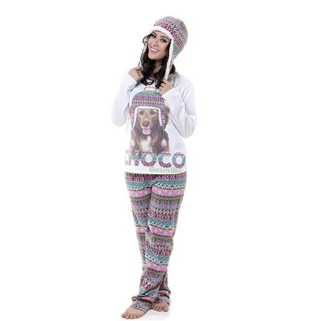 Pijama comprido com touca moletinho