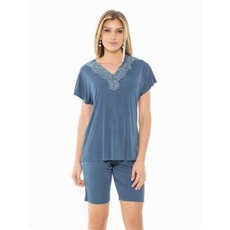 Pijama manga curta de microfibra e renda
