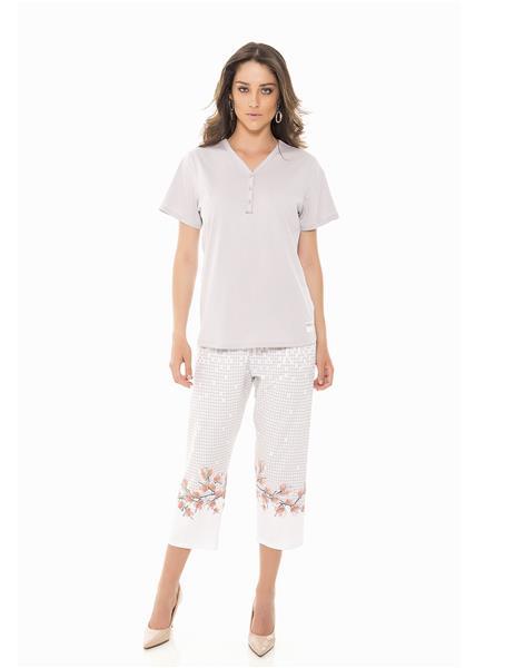 Pijama capri de malha 100% algodão