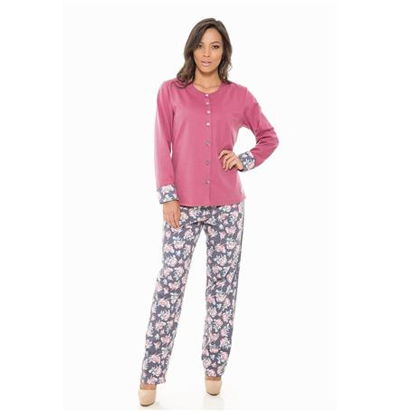 Pijama longo aberto de moletinho