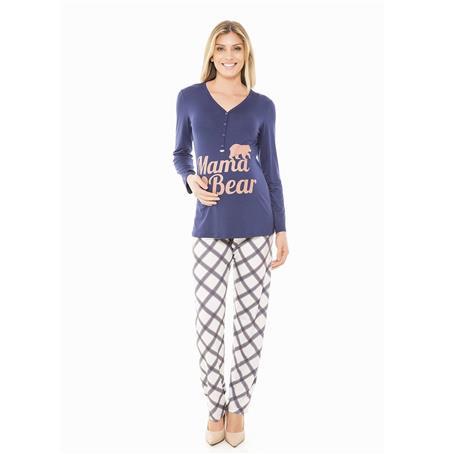 Pijama comprido de viscose e viscoprint