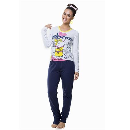 Pijama comprido de cotton comfort