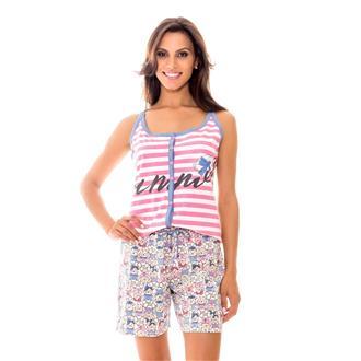 Pijama regata aberto de malha 100% algodão