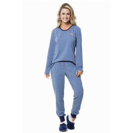 Pijama comprido de malha fio tinto