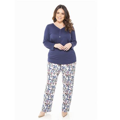 Pijama longo de viscose e viscoprint