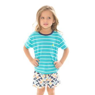 Pijama infantil de malha listrado