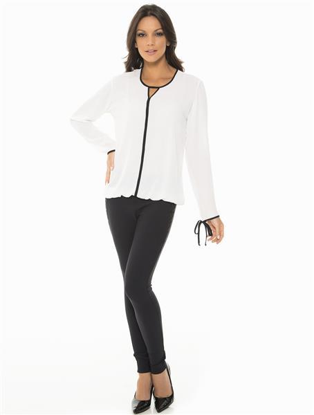 Blusa de manga longa em crepe elegance