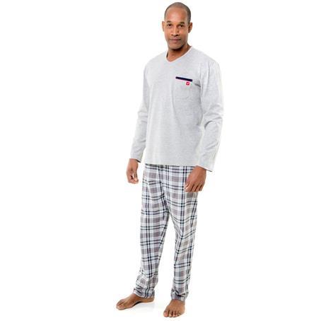 Pijama longo malha 100% algodão e xadrez