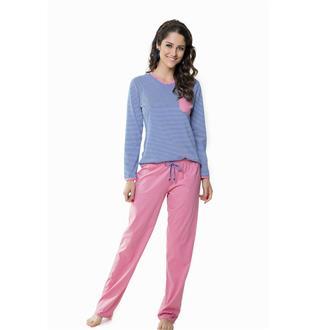 Pijama comprido malha fio tinto 100% algodão