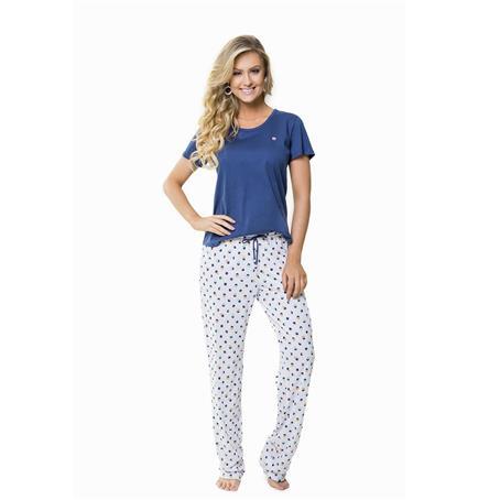Pijama manga curta e calça de malha