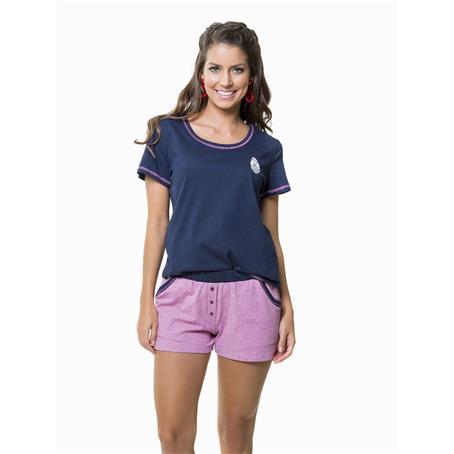 Pijama curto 100% algodão fio tinto