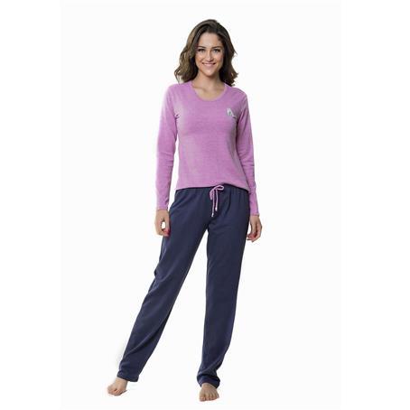 Pijama comprido malha e moletinho