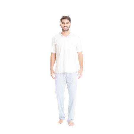 Pijama 100% algodão e malha listrada