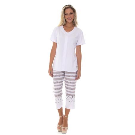 Pijama manga curta aberto em malha