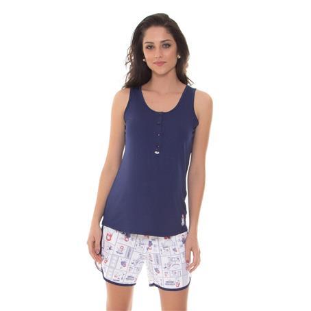 Pijama Regata com short de Viscose e Microfibra