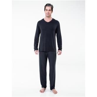 Pijama longo risca de giz em modal