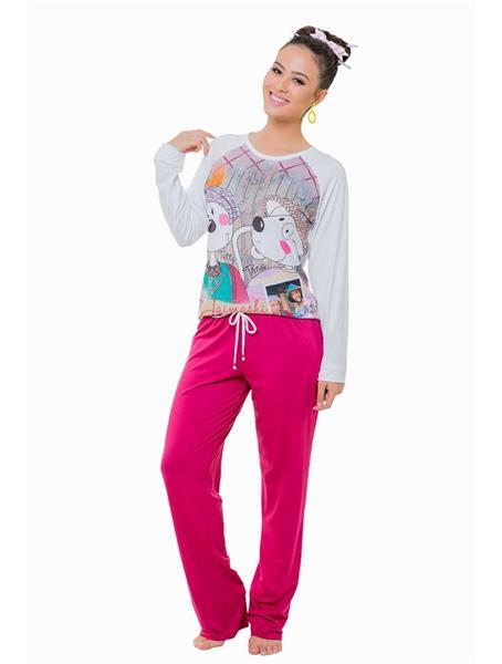 Pijama comprido de viscose stretch