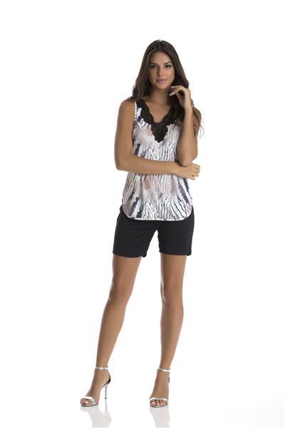 Pijama Regata de Microfibra e Renda