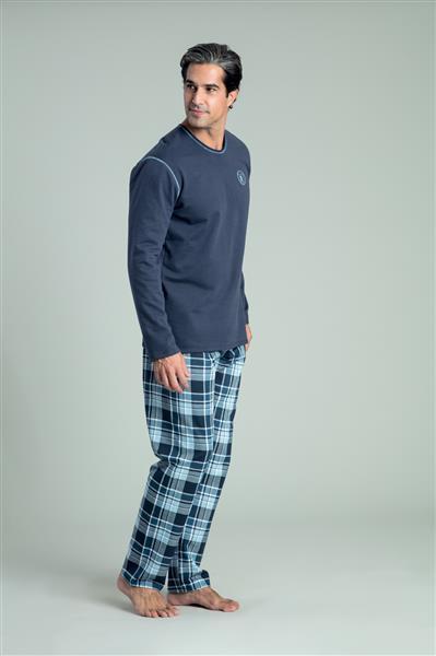 Pijama comprido de malha flanelada