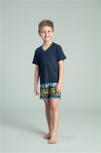 Pijama infantil de viscose e touch