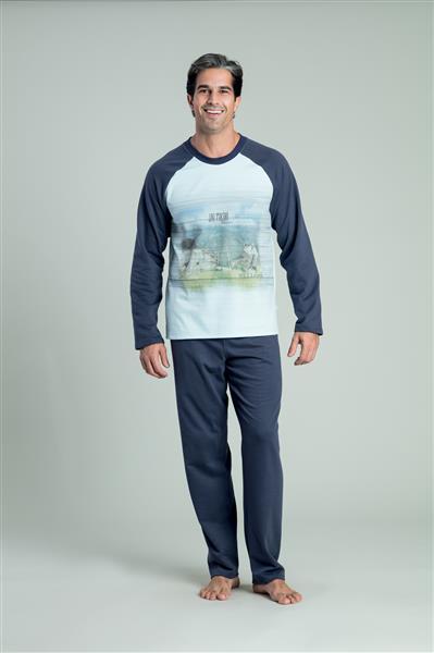 Pijama longo em malha flanelada