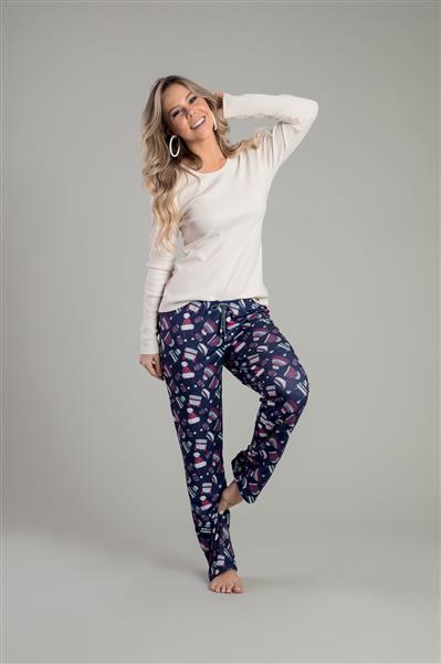 Pijama comprido de topázio e malha