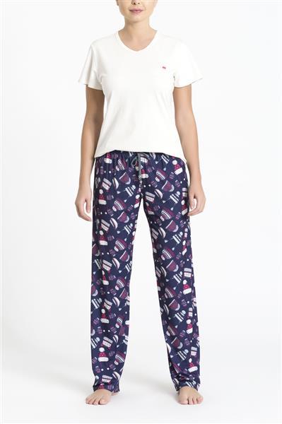 Pijama manga curta e calça em malha