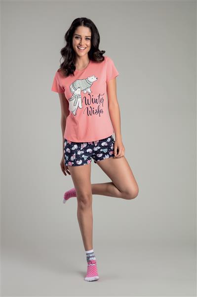 b6396ef82c043f Pijama baunilha manga curta de malha algodão - Compre agora | Recco ...