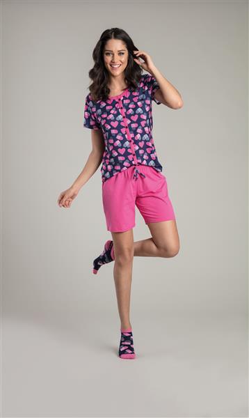 Pijama curto aberto de malha 100% algodão