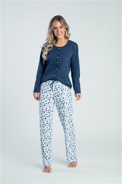 Pijama comprido aberto malha 100% algodão