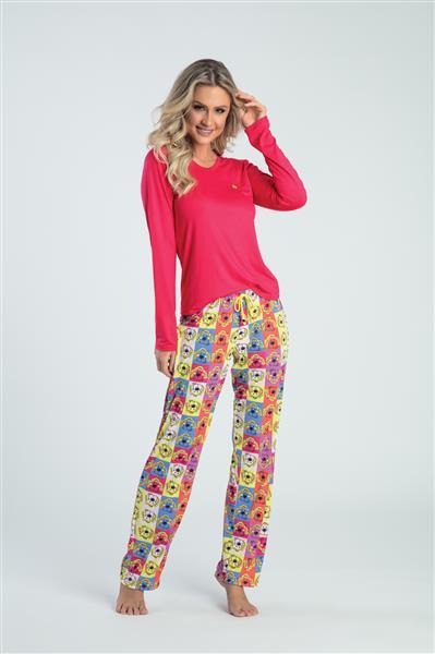 a76164014 Pijama comprido de viscose e microfibra - Baunilha