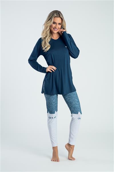 Pijama comprido de viscose e legging