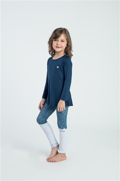 Pijama longo infantil de viscose e legging