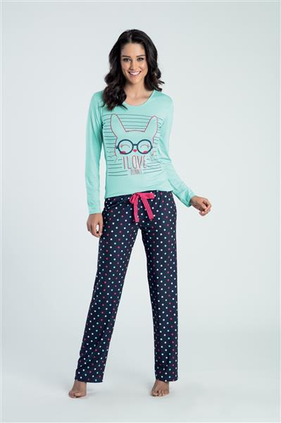 Pijama comprido de viscose e comfort