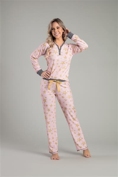 Pijama comprido de malha touch