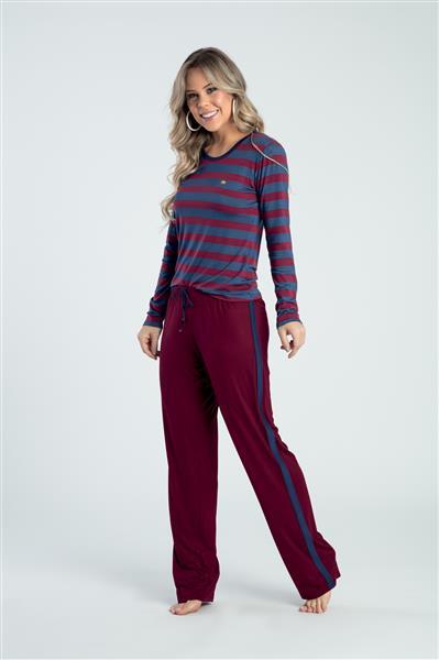 Pijama comprido de viscoflex e viscose