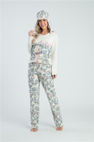 Pijama comprido com touca flanelada