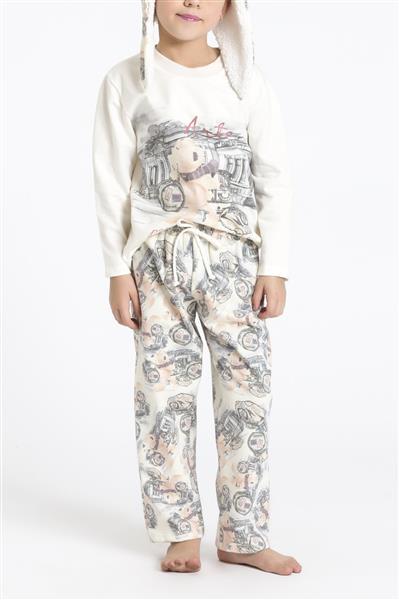 Pijama infantil com touca flanelada