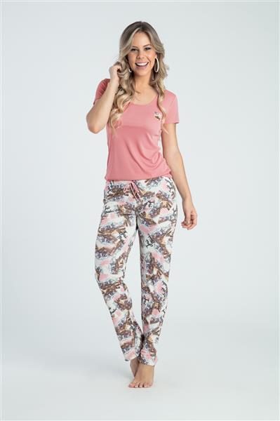 Pijama manga curta e calça em microfibra