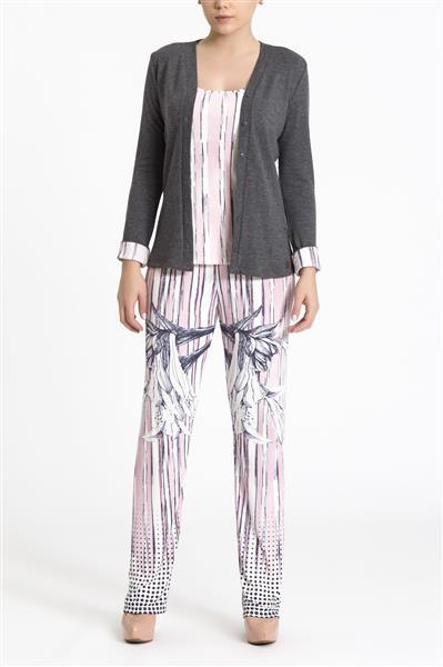 Pijama comprido em tricô e microfibra