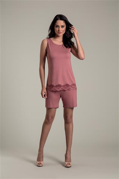 Pijama shorts meia coxa em viscose